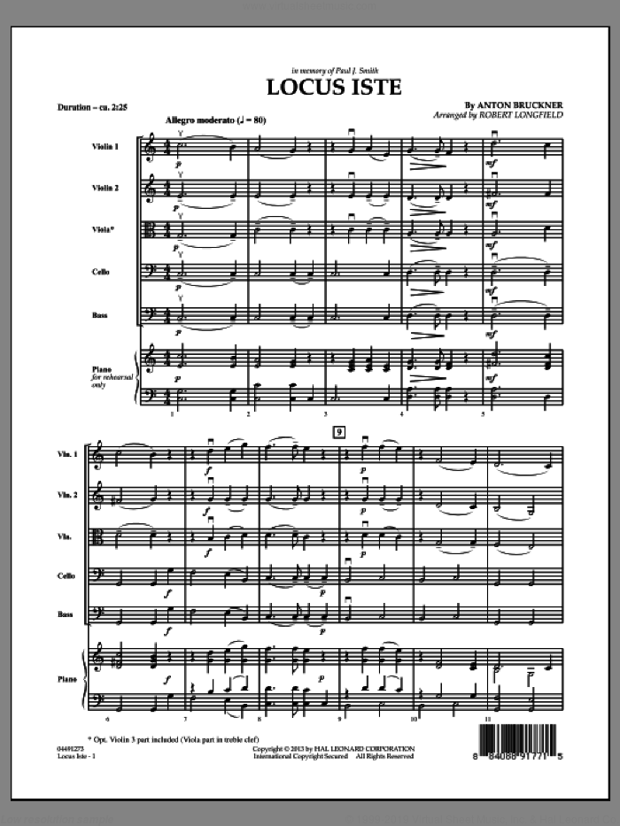 Locus Iste (COMPLETE) sheet music for orchestra by Anton Bruckner and Robert Longfield, classical score, intermediate skill level