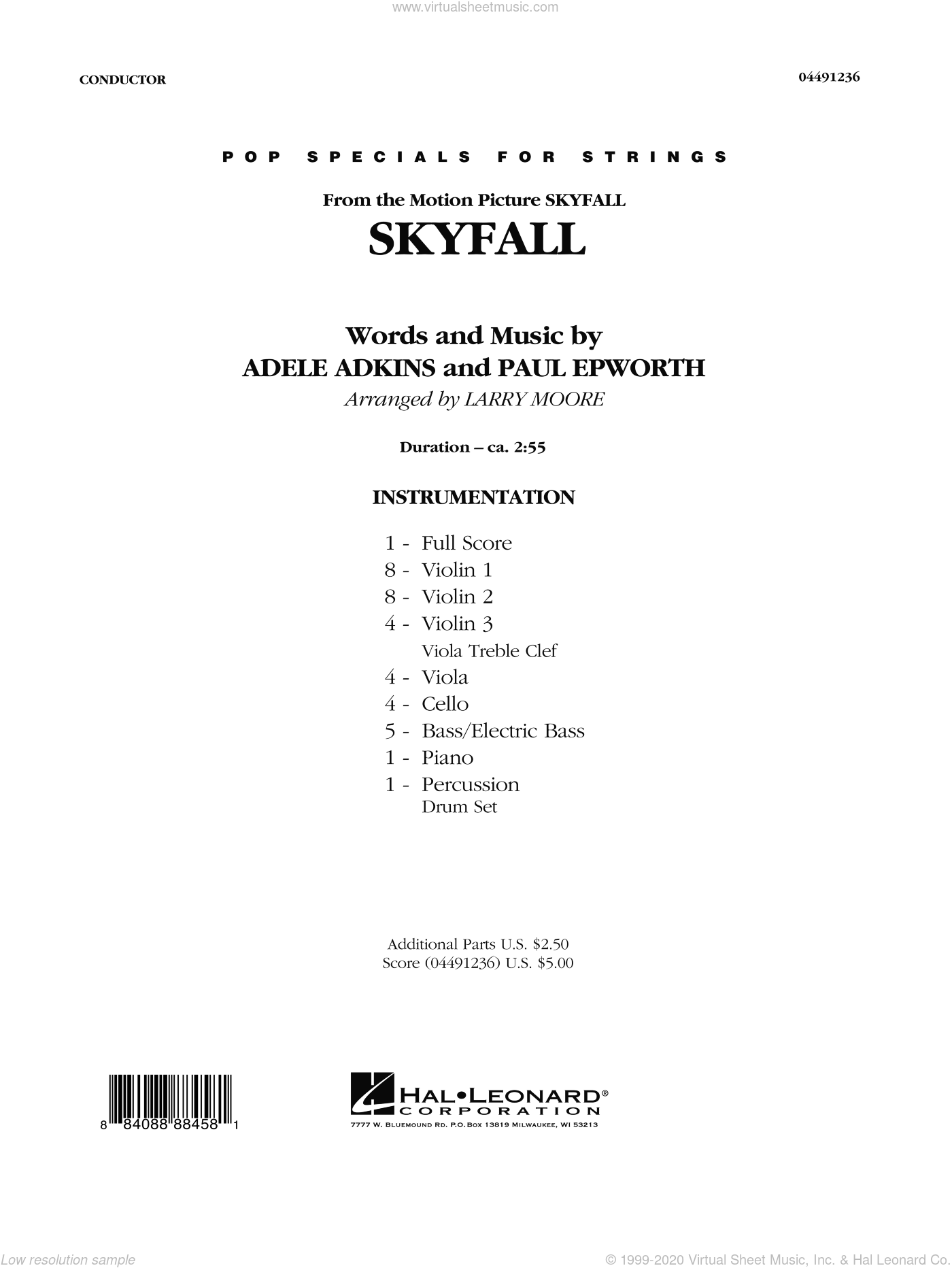 Skyfall sheet music for orchestra (full score) by Larry Moore
