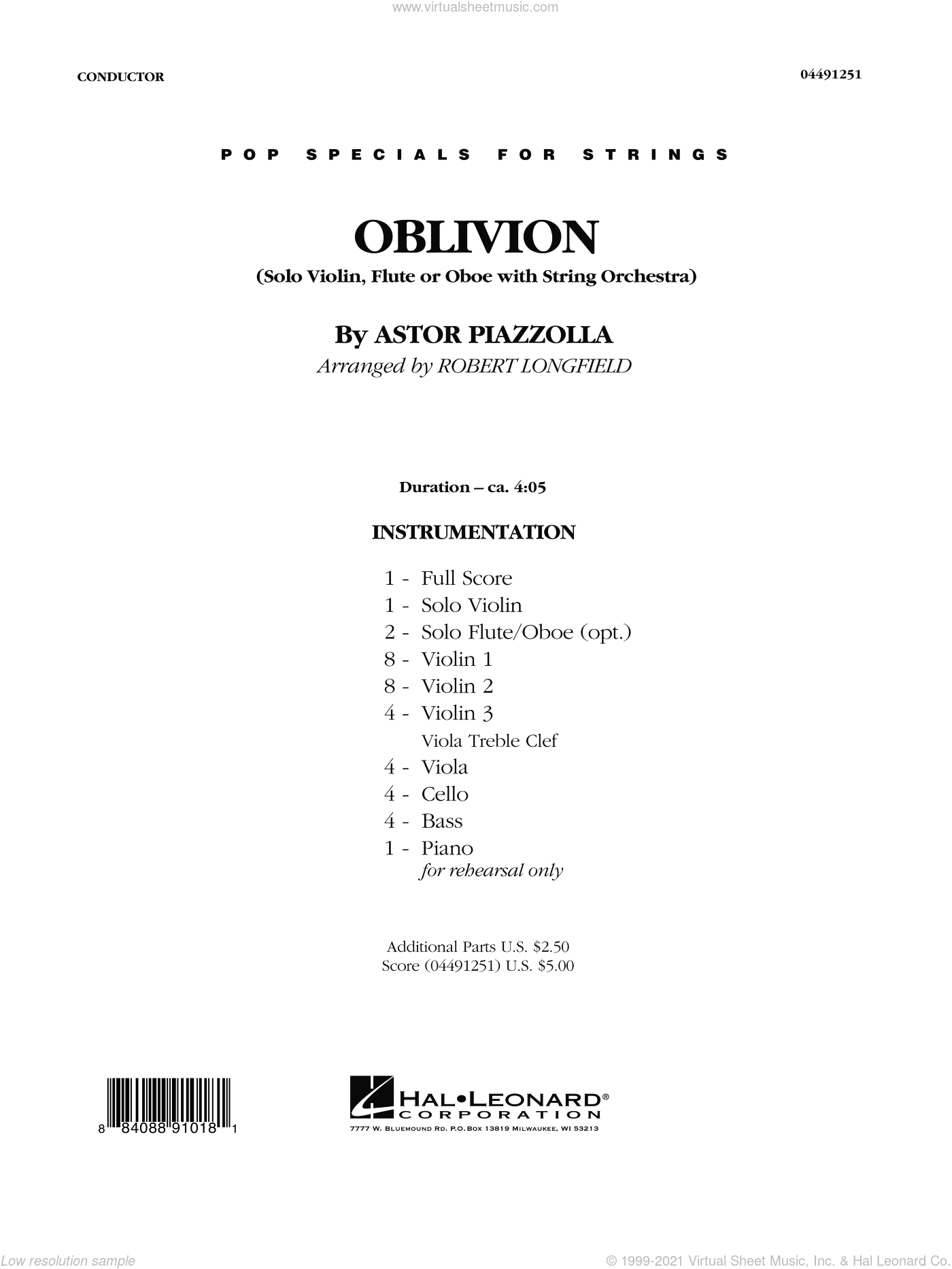 Oblivion sheet music for orchestra (full score) by Robert Longfield, intermediate orchestra (full score). Score Image Preview.