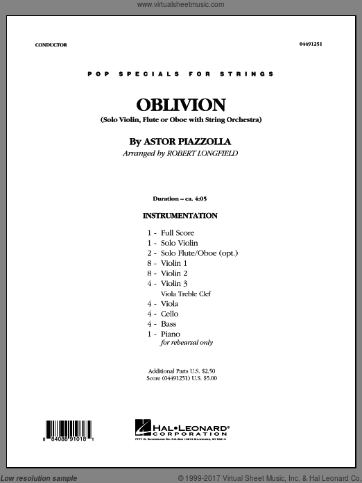 Oblivion (COMPLETE) sheet music for orchestra by Robert Longfield, intermediate. Score Image Preview.