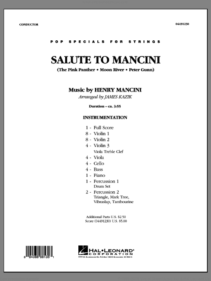 Salute to Mancini (COMPLETE) sheet music for orchestra by Henry Mancini and James Kazik, intermediate skill level