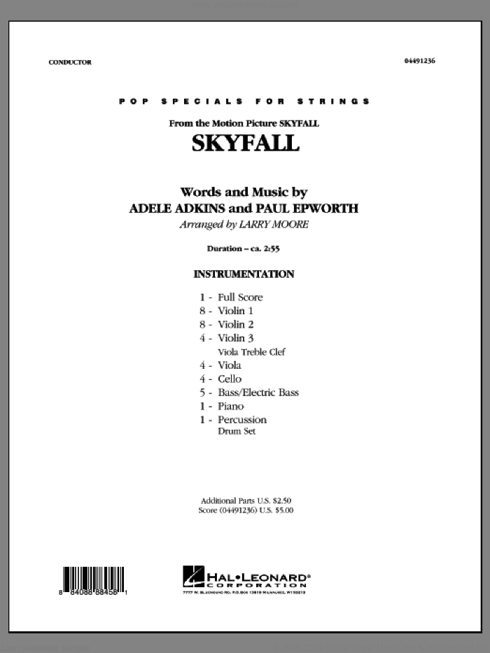 Skyfall (COMPLETE) sheet music for orchestra by Adele and Larry Moore, intermediate. Score Image Preview.