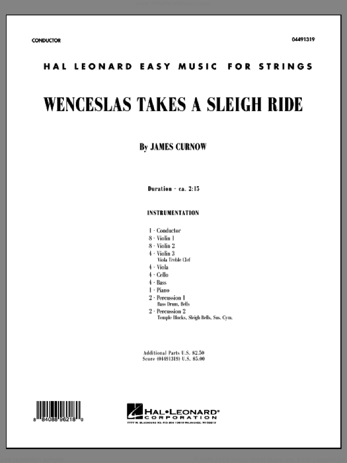 Wenceslas Takes a Sleigh Ride (COMPLETE) sheet music for orchestra by James Curnow, intermediate skill level