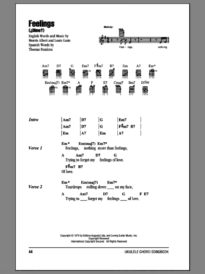 Feelings (Dime) sheet music for ukulele (chords) by Morris Albert