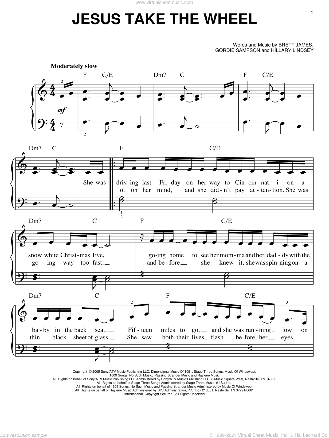 Jesus Take The Wheel sheet music for piano solo by Hillary Lindsey, Carrie Underwood, Brett James and Gordie Sampson. Score Image Preview.