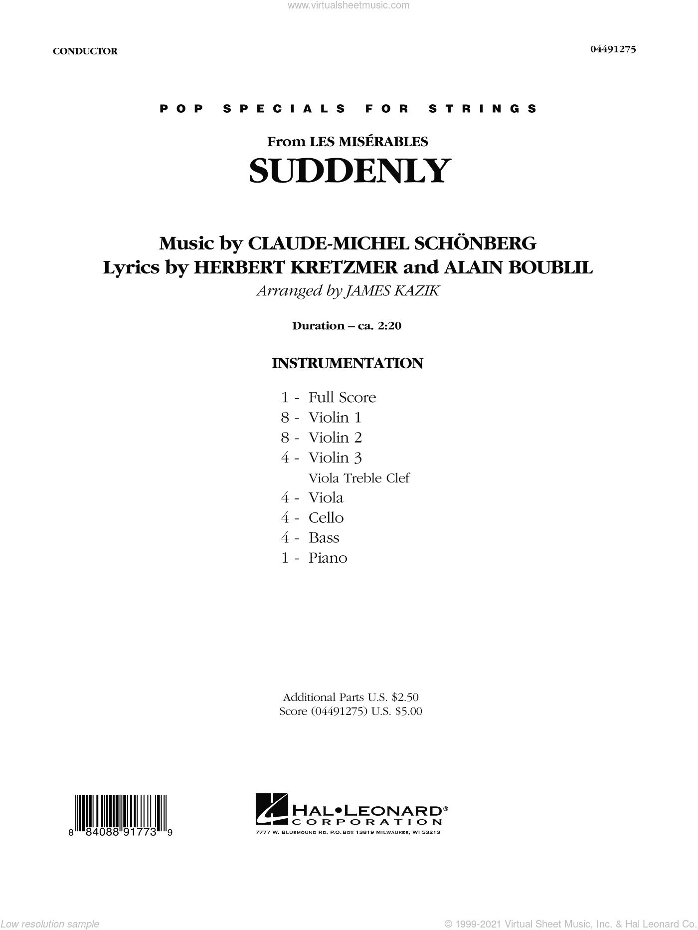Suddenly (from Les Miserables) sheet music for orchestra (full score) by Alain Boublil