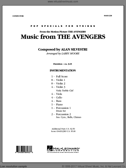 Music from The Avengers (COMPLETE) sheet music for orchestra by Alan Silvestri