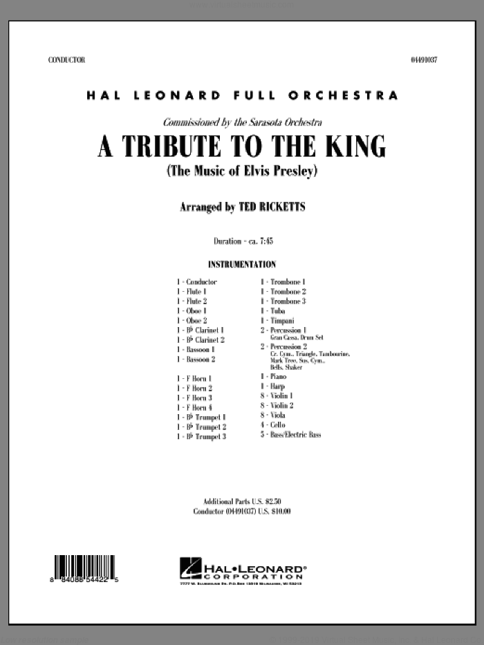 A Tribute to the King (The Music of Elvis Presley) (COMPLETE) sheet music for full orchestra by Elvis Presley and Ted Ricketts, intermediate skill level