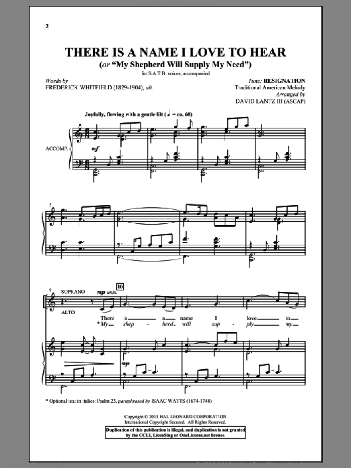 There Is A Name I Love To Hear sheet music for choir (SATB) by David Lantz. Score Image Preview.