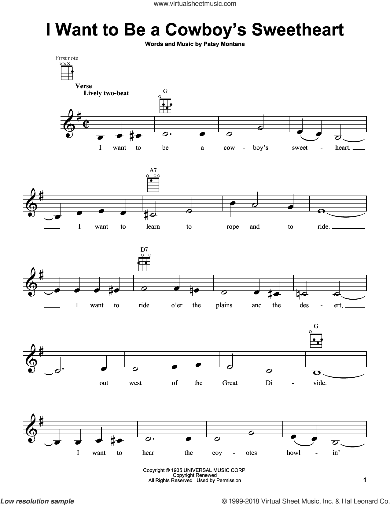 I Want To Be A Cowboy's Sweetheart sheet music for ukulele by Patsy Montana and LeAnn Rimes. Score Image Preview.