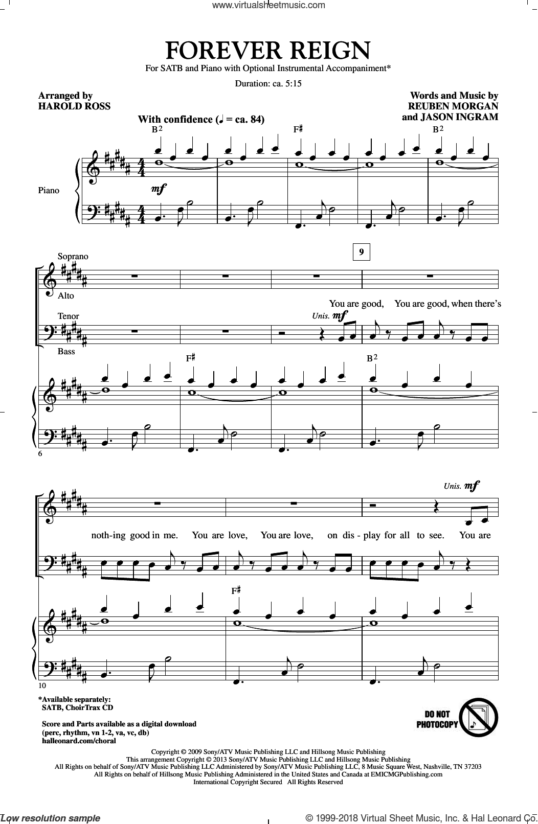 Forever Reign sheet music for choir (SATB: soprano, alto, tenor, bass) by Harold Ross and Hillsong, intermediate skill level
