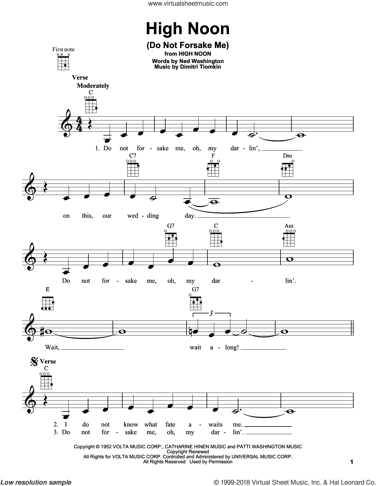 High Noon (Do Not Forsake Me) sheet music for ukulele by Ned Washington and Dimitri Tiomkin. Score Image Preview.