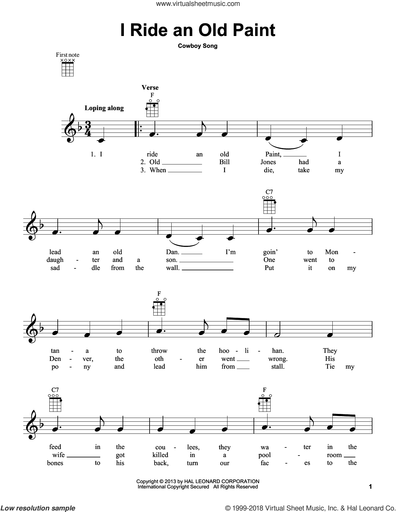 I Ride An Old Paint sheet music for ukulele, intermediate skill level
