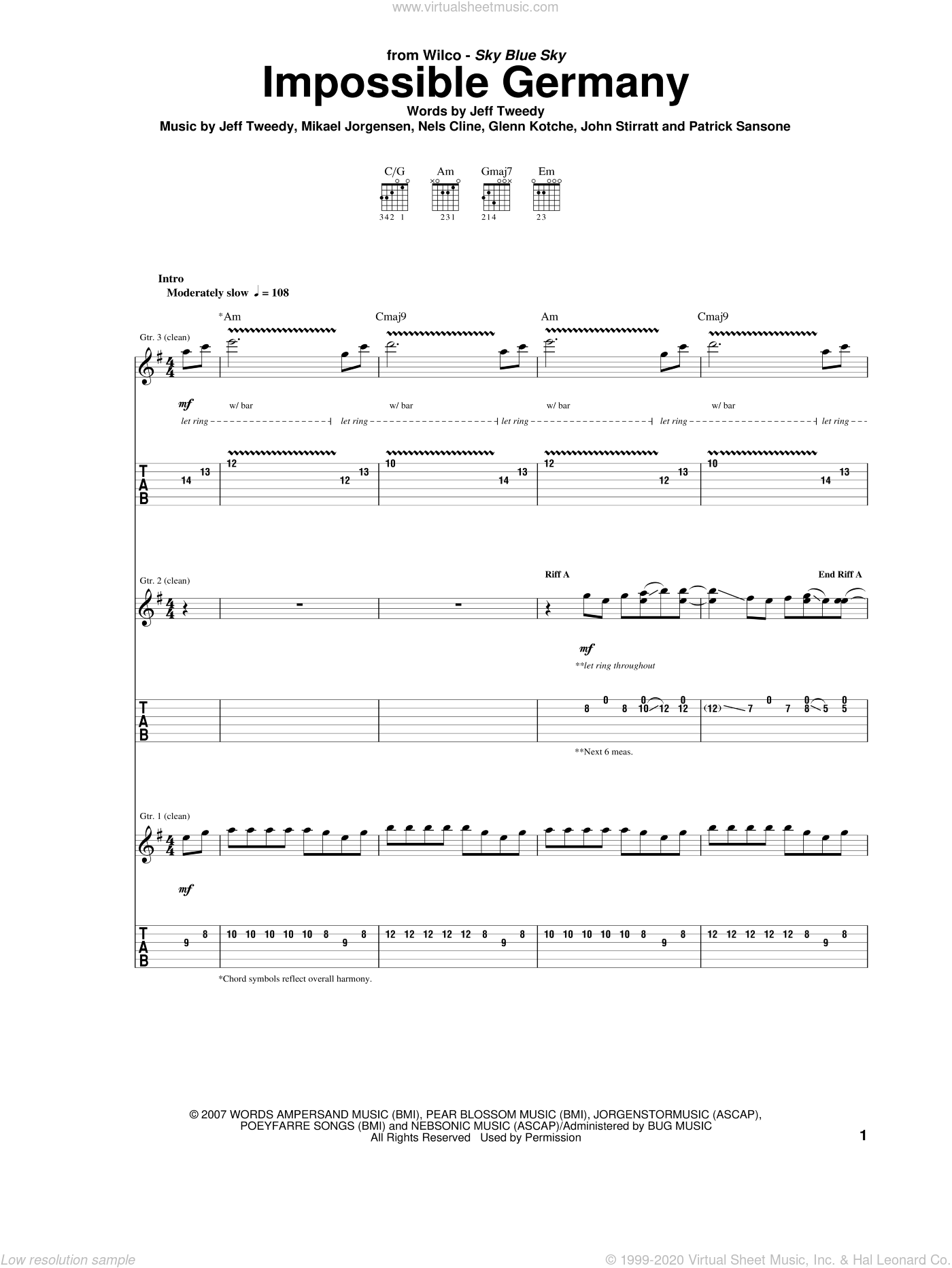 Impossible Germany sheet music for guitar (tablature) by Wilco, intermediate. Score Image Preview.