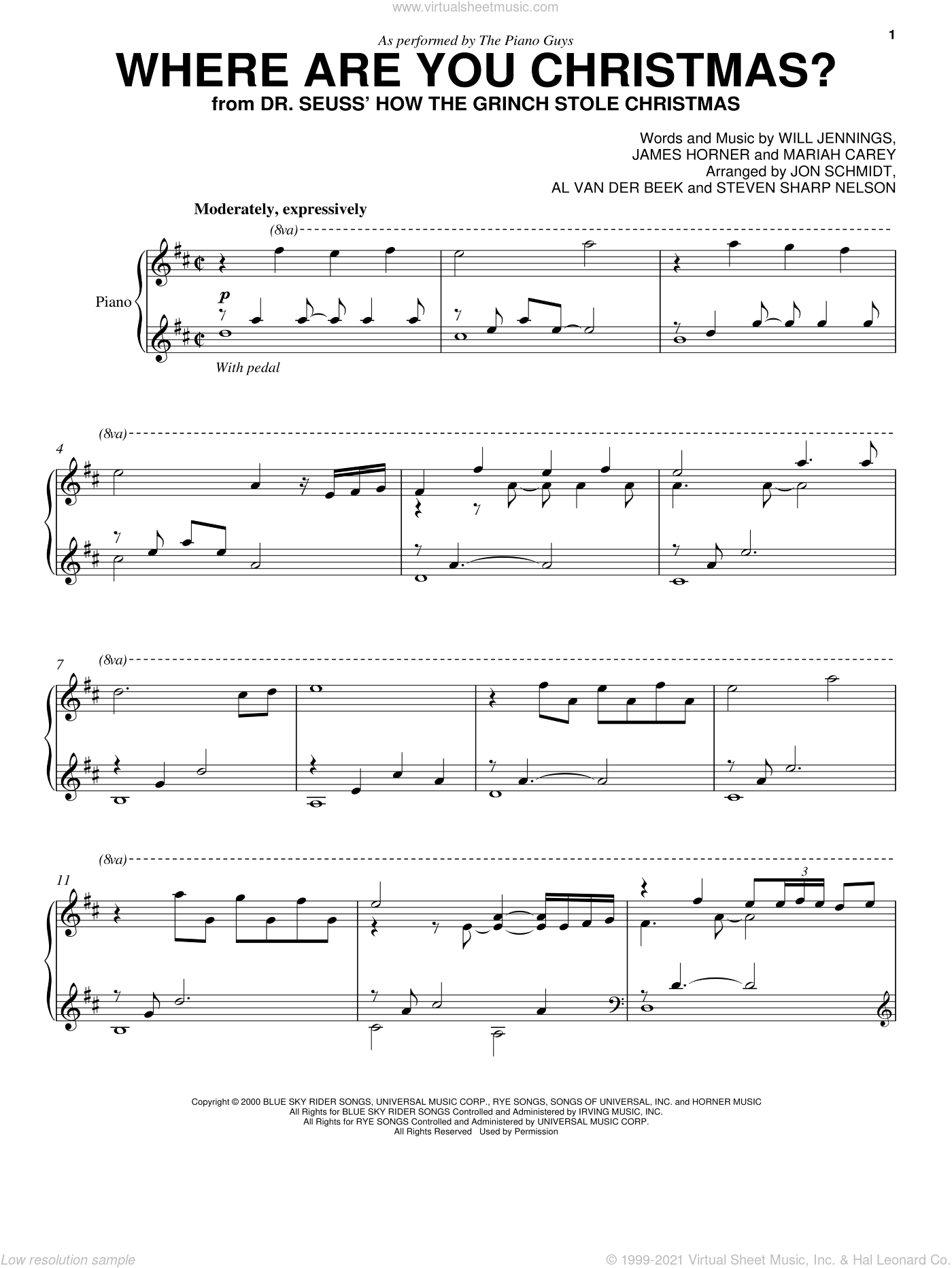 Where Are You Christmas? (from How The Grinch Stole Christmas) sheet music for cello and piano by The Piano Guys, Faith Hill, James Horner, Mariah Carey and Will Jennings, intermediate skill level