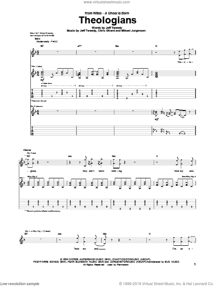 Theologians sheet music for guitar (tablature) by Wilco. Score Image Preview.