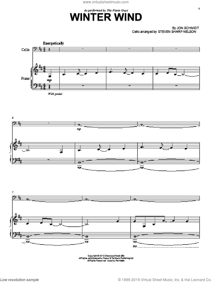 Winter Wind sheet music for cello and piano by The Piano Guys, intermediate skill level