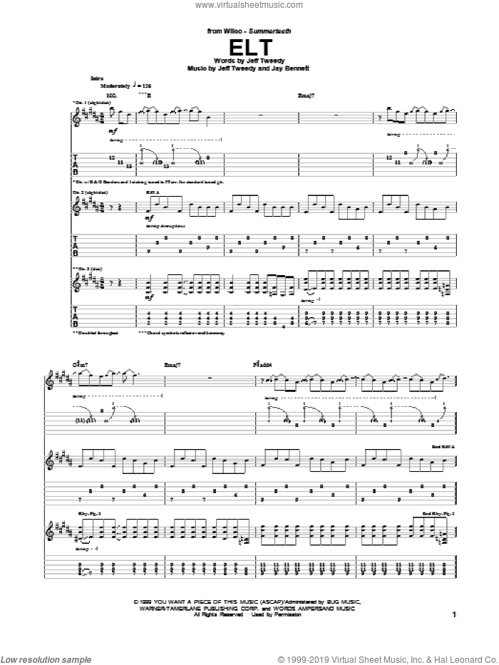 ELT sheet music for guitar (tablature) by Wilco