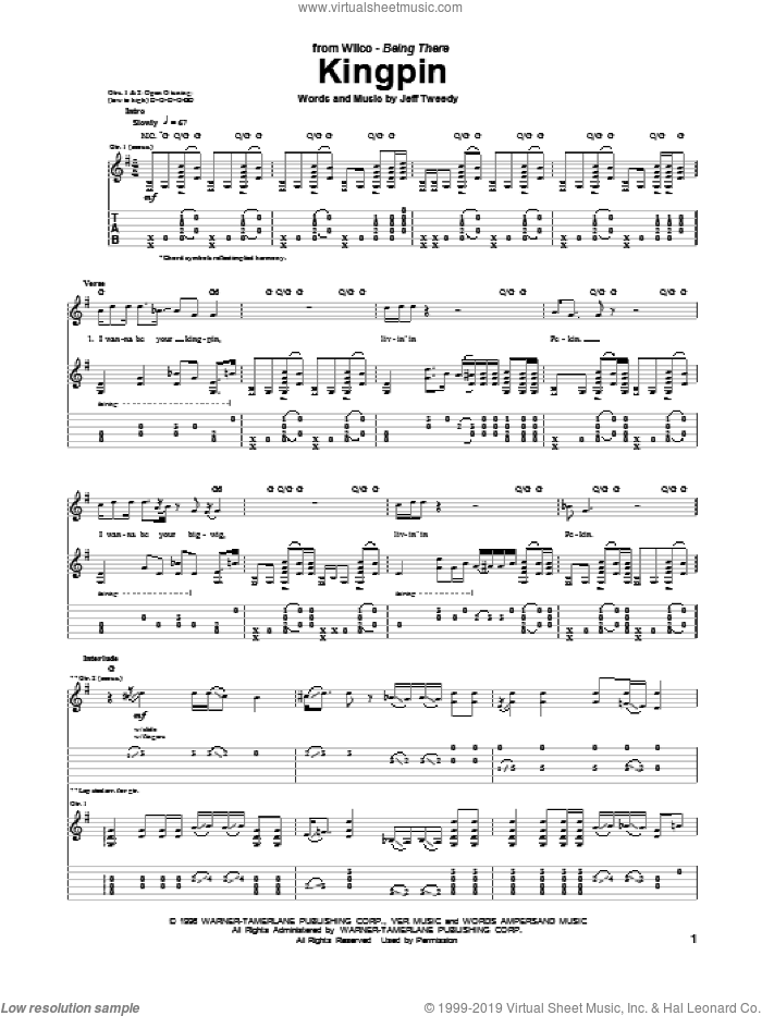 Kingpin sheet music for guitar (tablature) by Wilco, intermediate guitar (tablature). Score Image Preview.