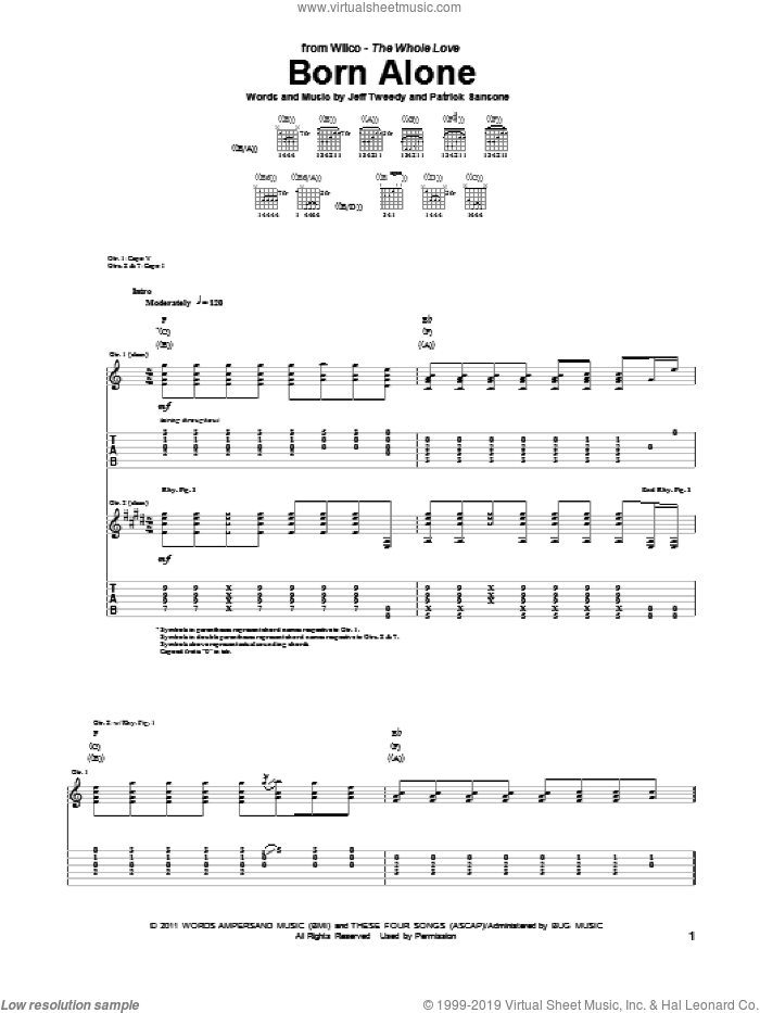 Born Alone sheet music for guitar (tablature) by Wilco