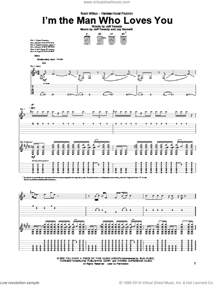 I'm The Man Who Loves You sheet music for guitar (tablature) by Wilco. Score Image Preview.