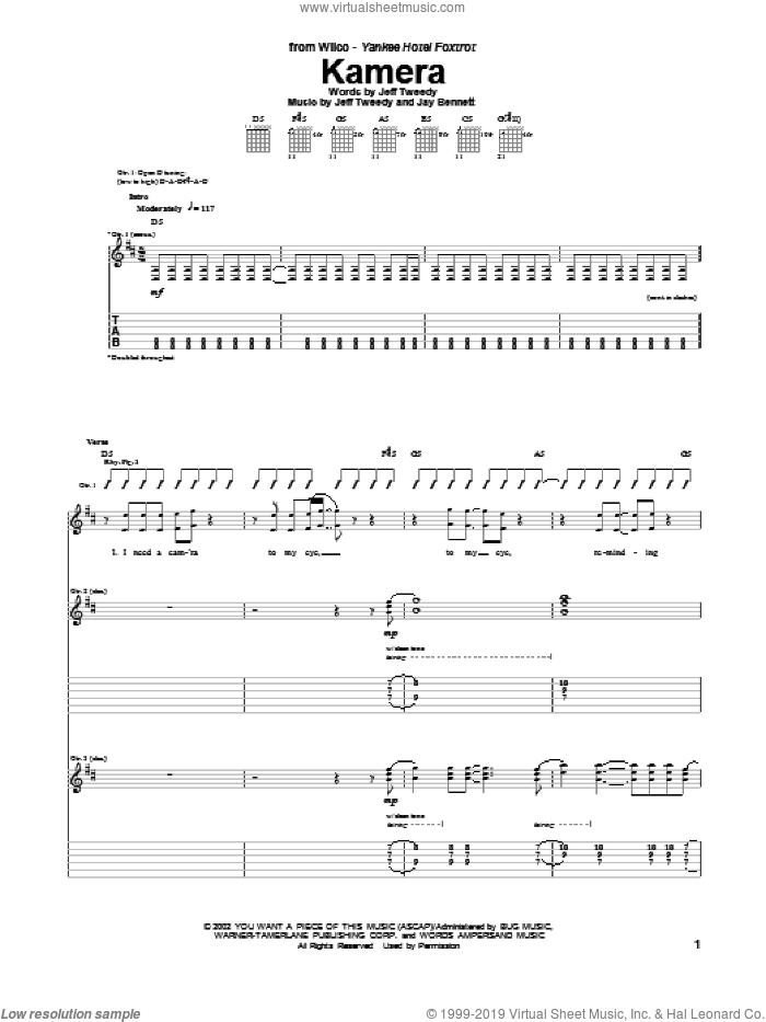 Kamera sheet music for guitar (tablature) by Wilco, intermediate