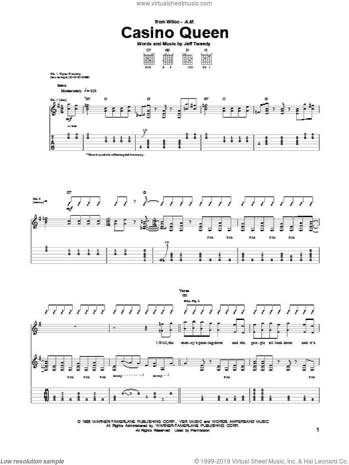 Casino Queen sheet music for guitar (tablature) by Wilco, intermediate guitar (tablature). Score Image Preview.