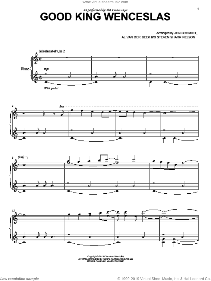 Good King Wenceslas sheet music for cello and piano by The Piano Guys, intermediate skill level