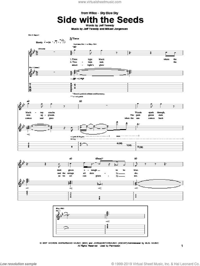 Side With The Seeds sheet music for guitar (tablature) by Wilco. Score Image Preview.