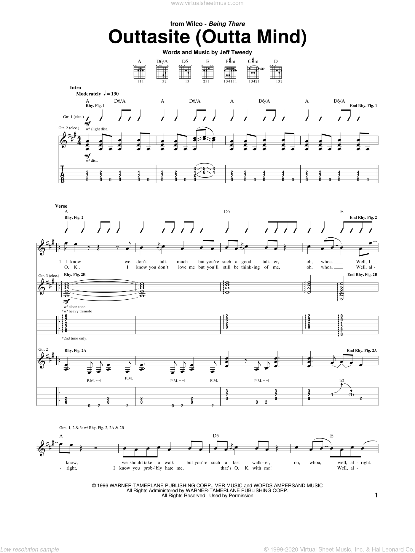 Outtasite (Outta Mind) sheet music for guitar (tablature) by Wilco. Score Image Preview.