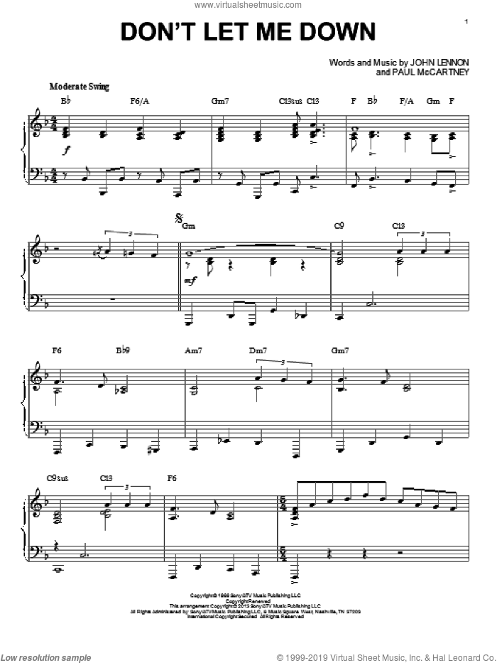 Don't Let Me Down sheet music for piano solo by The Beatles