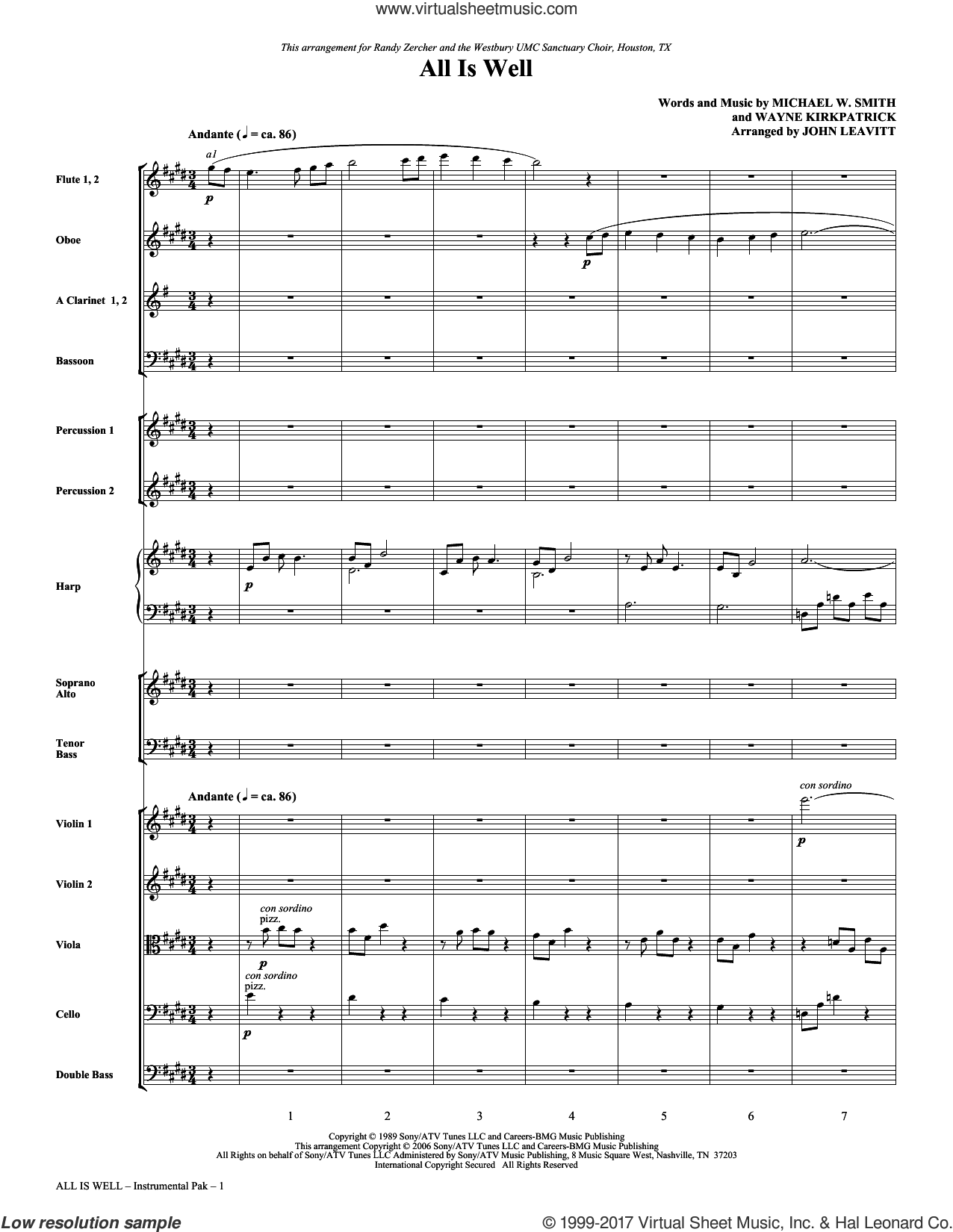 All Is Well (complete set of parts) sheet music for orchestra/band (chamber ensemble) by John Leavitt, Michael W. Smith and Wayne Kirkpatrick, intermediate skill level