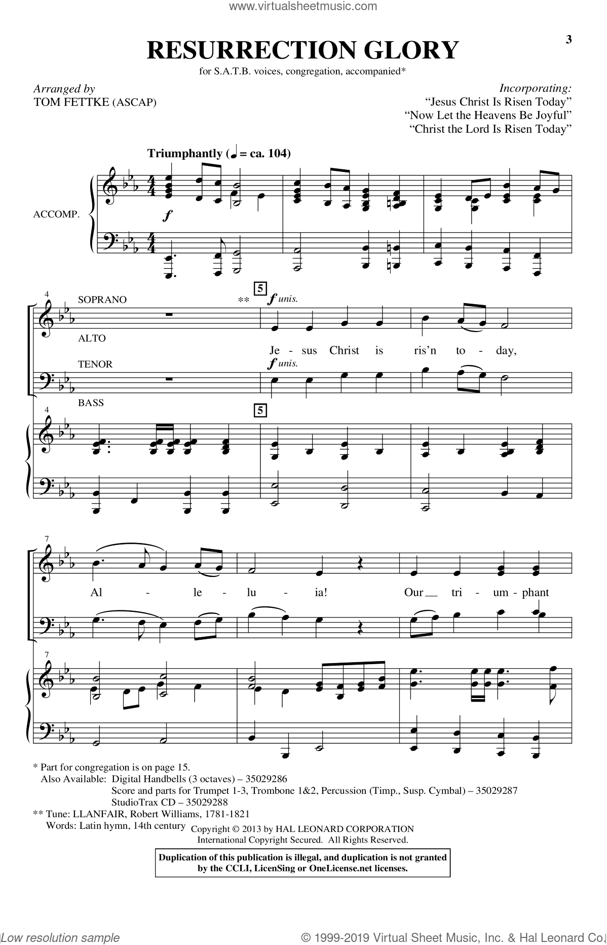 Jesus Christ Is Risen Today sheet music for choir (SATB) by Tom Fettke. Score Image Preview.