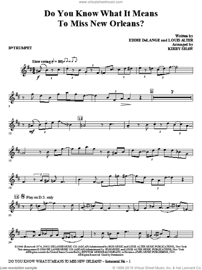 Do You Know What It Means To Miss New Orleans (complete set of parts) sheet music for orchestra/band by Kirby Shaw, Eddie DeLange and Louis Alter, intermediate. Score Image Preview.