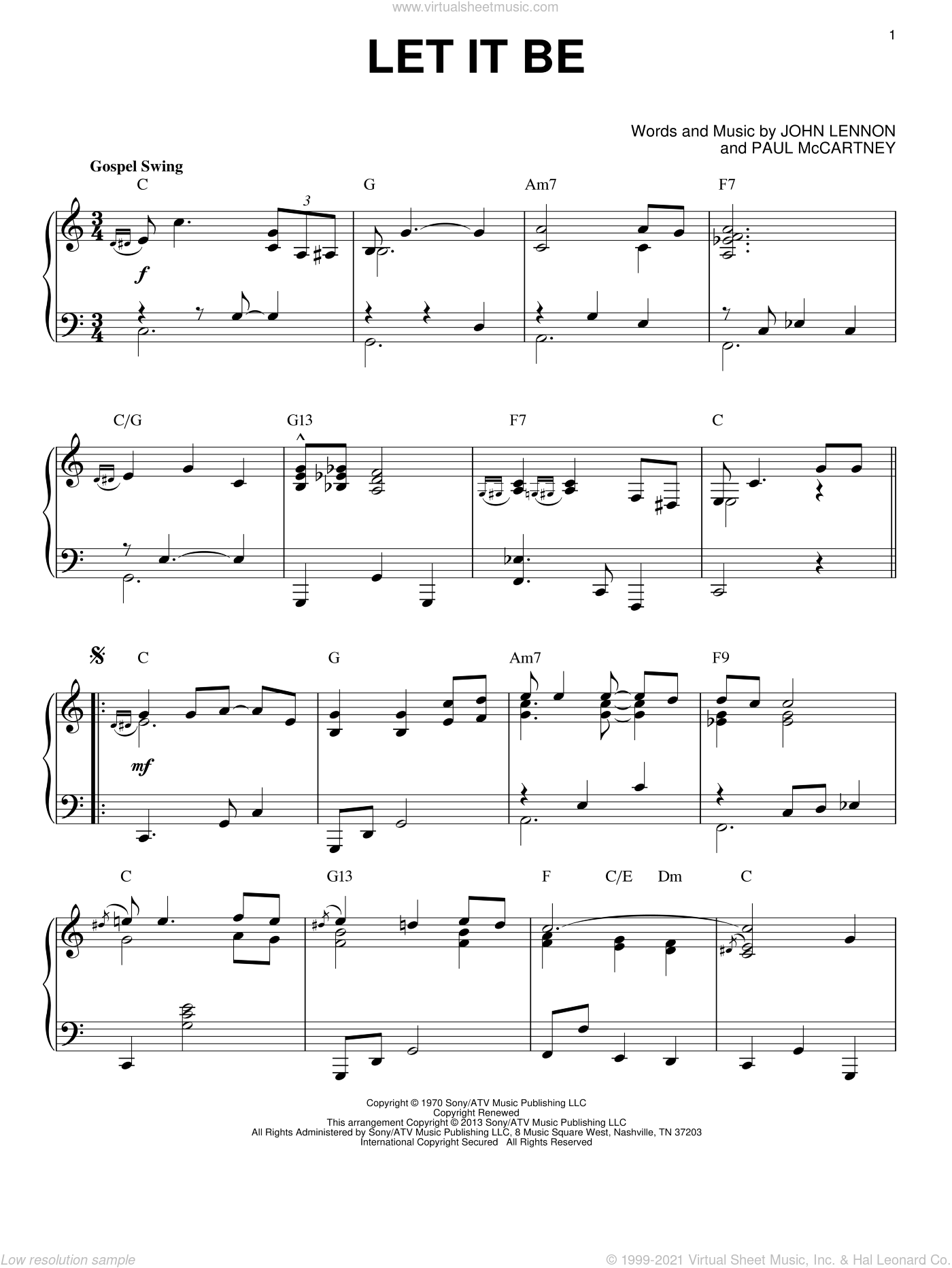 Let It Be [Jazz version] (arr. Brent Edstrom) sheet music for piano solo by The Beatles, John Lennon and Paul McCartney, intermediate skill level