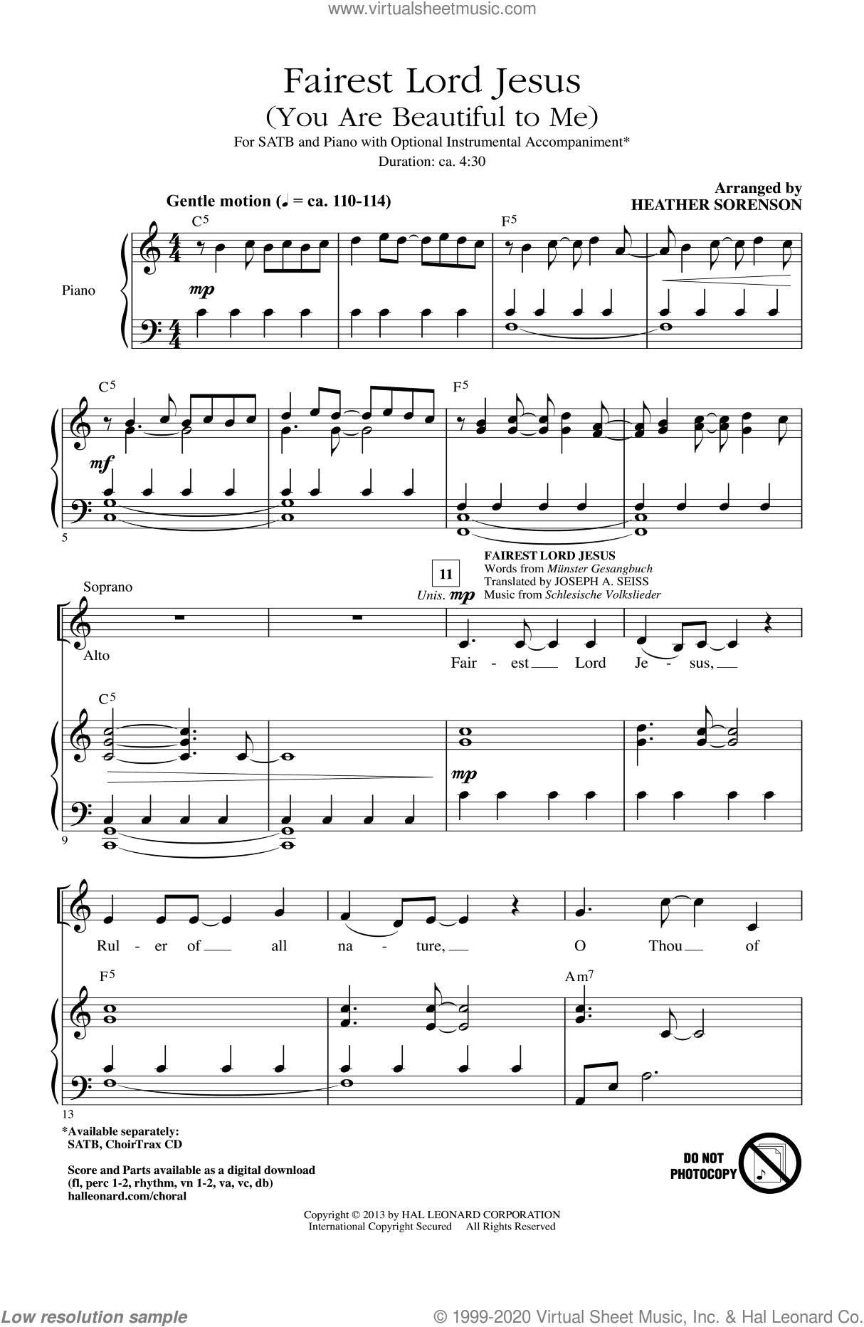 Fairest Lord Jesus sheet music for choir (SATB: soprano, alto, tenor, bass) by Heather Sorenson, intermediate. Score Image Preview.