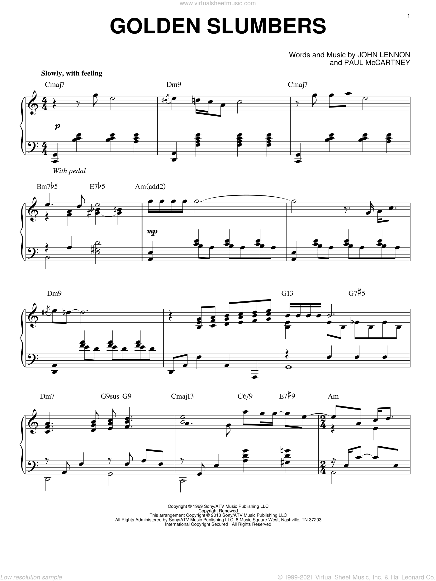 Golden Slumbers, (Intermediate) sheet music for piano solo by The Beatles, John Lennon and Paul McCartney, intermediate. Score Image Preview.