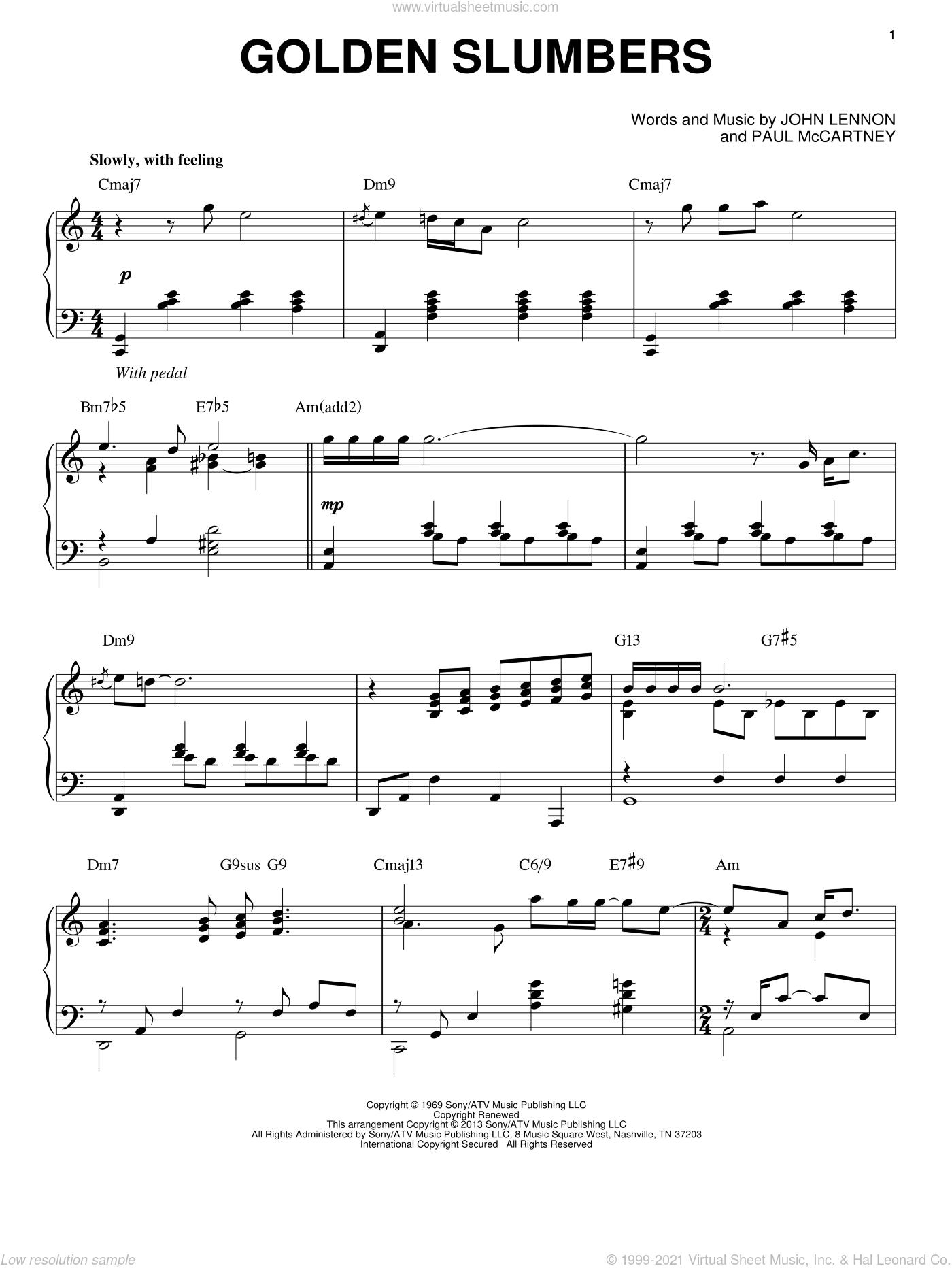 Golden Slumbers [Jazz version] (arr. Brent Edstrom) sheet music for piano solo by The Beatles, John Lennon and Paul McCartney, intermediate skill level