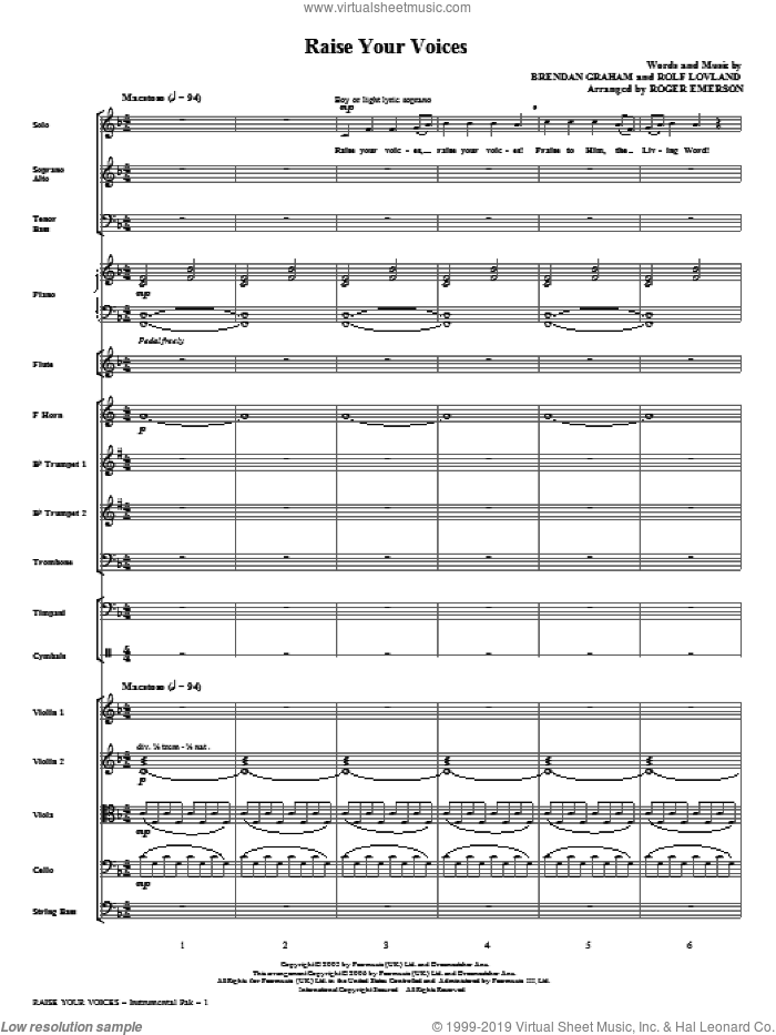 Raise Your Voices (complete set of parts) sheet music for orchestra/band (Orchestra) by Brendan Graham, Rolf Lovland, Roger Emerson and Secret Garden, intermediate skill level