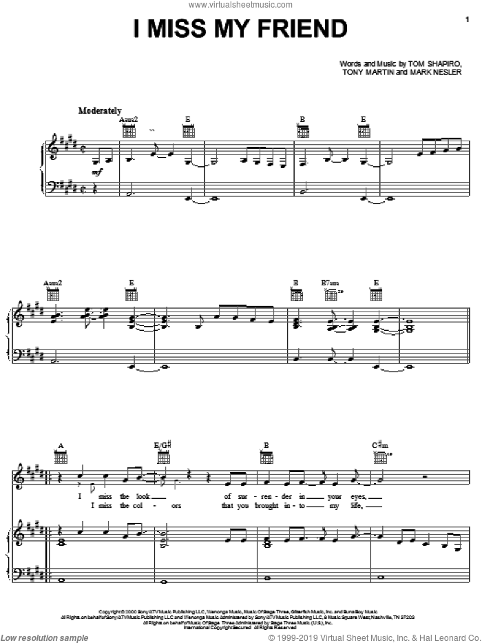 I Miss My Friend sheet music for voice, piano or guitar by Tony Martin, Darryl Worley, Mark Nesler and Tom Shapiro. Score Image Preview.