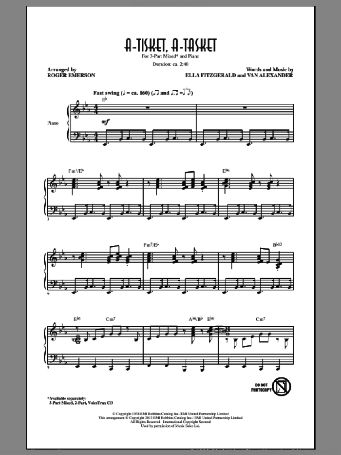 A-Tisket, A-Tasket sheet music for choir (chamber ensemble) by Roger Emerson and Ella Fitzgerald. Score Image Preview.