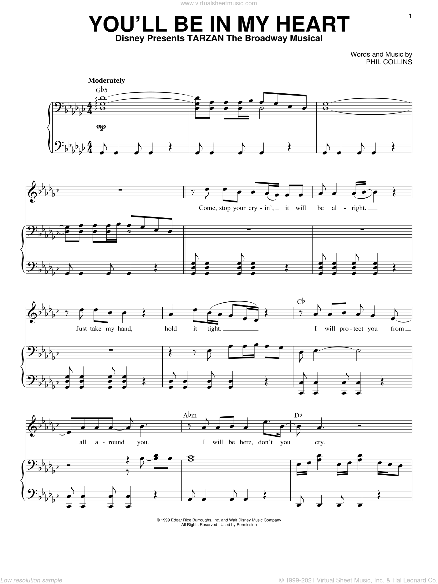 You'll Be In My Heart sheet music for voice and piano by Phil Collins, intermediate skill level
