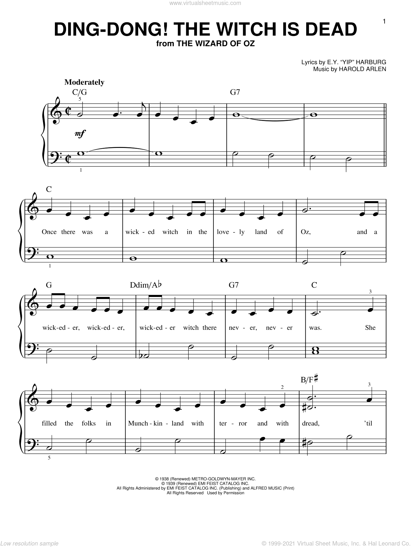Ding-Dong! The Witch Is Dead sheet music for piano solo by Harold Arlen and E.Y. Harburg, beginner skill level