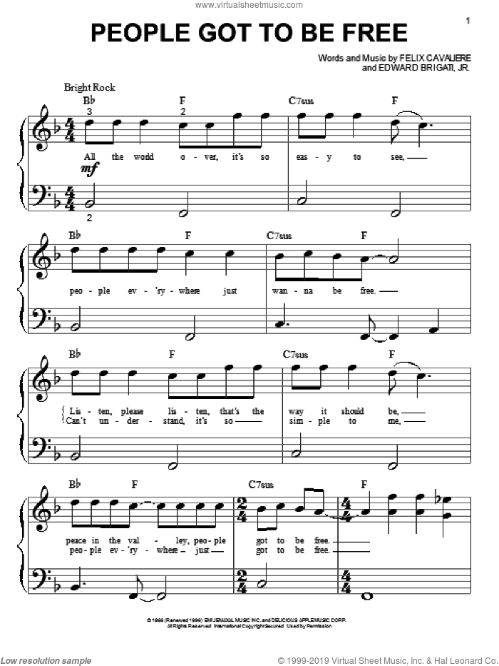 People Got To Be Free sheet music for piano solo (big note book) by The Rascals, easy piano (big note book)