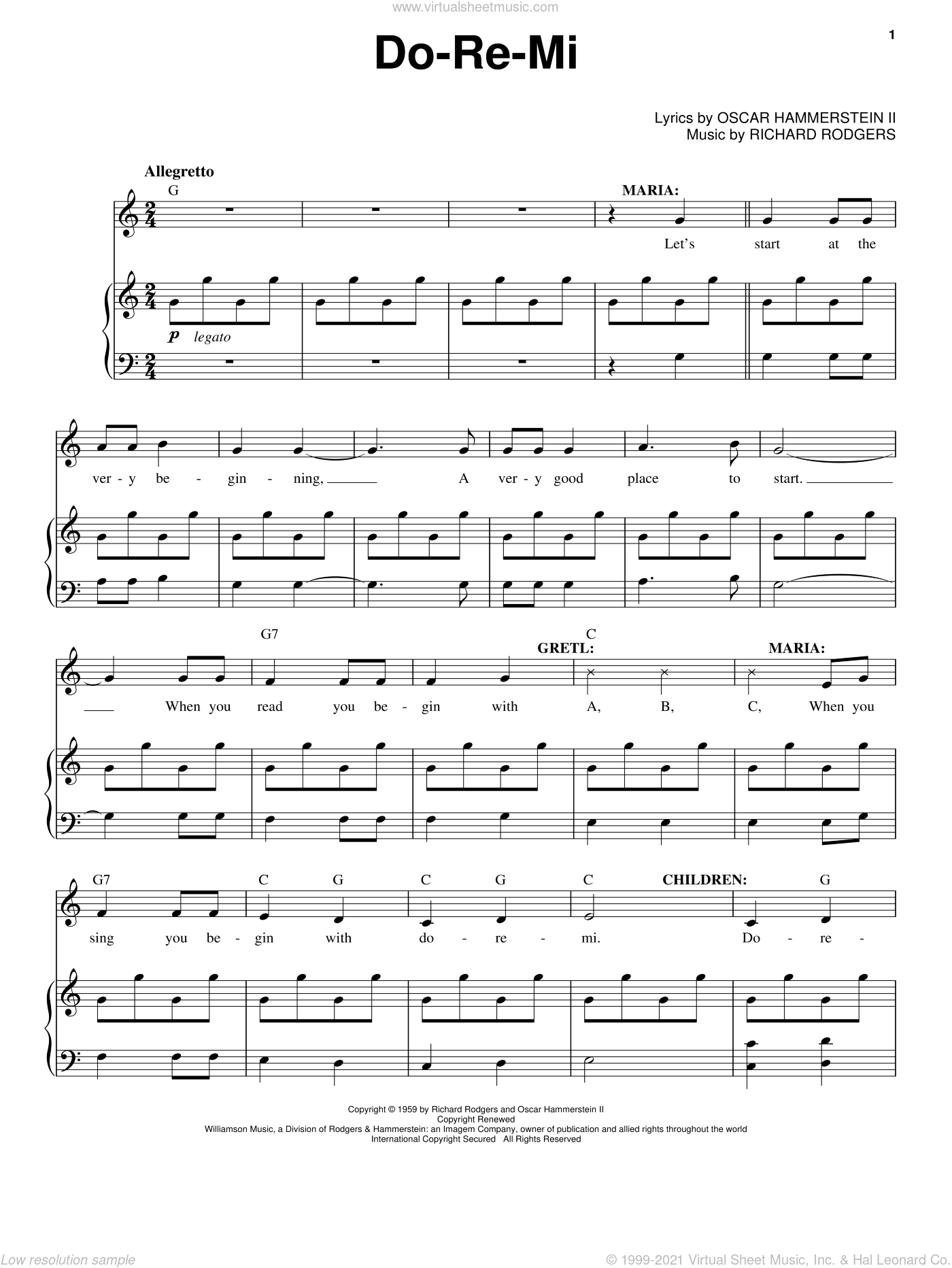 Do-Re-Mi sheet music for voice and piano by Rodgers & Hammerstein, Oscar II Hammerstein and Richard Rodgers, intermediate voice. Score Image Preview.