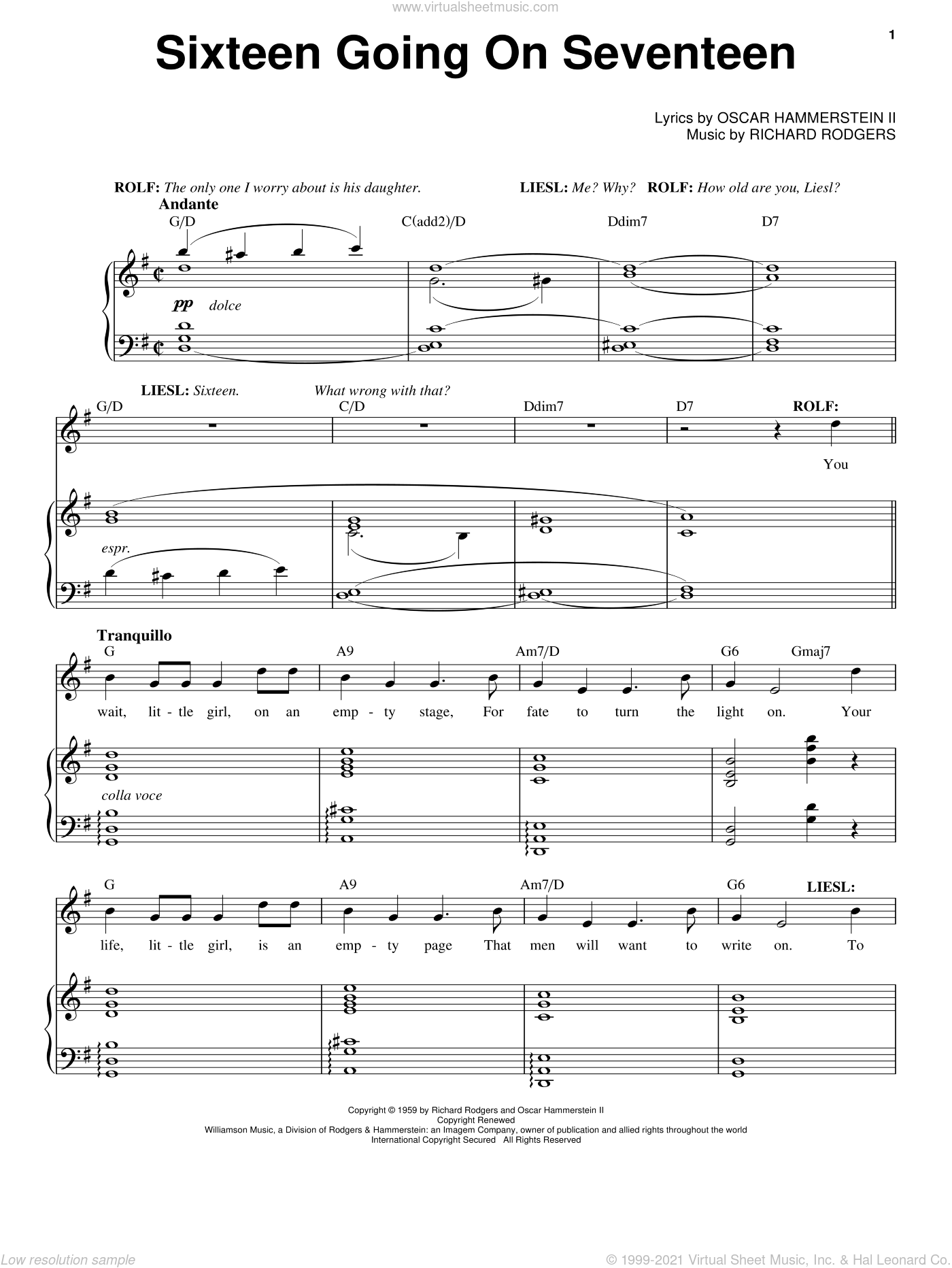 Sixteen Going On Seventeen sheet music for voice and piano by Rodgers & Hammerstein, Oscar II Hammerstein and Richard Rodgers, intermediate skill level