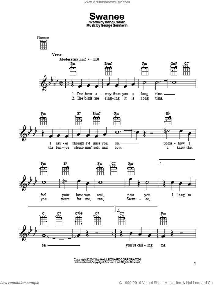 Swanee sheet music for ukulele by Irving Caesar and George Gershwin, intermediate. Score Image Preview.