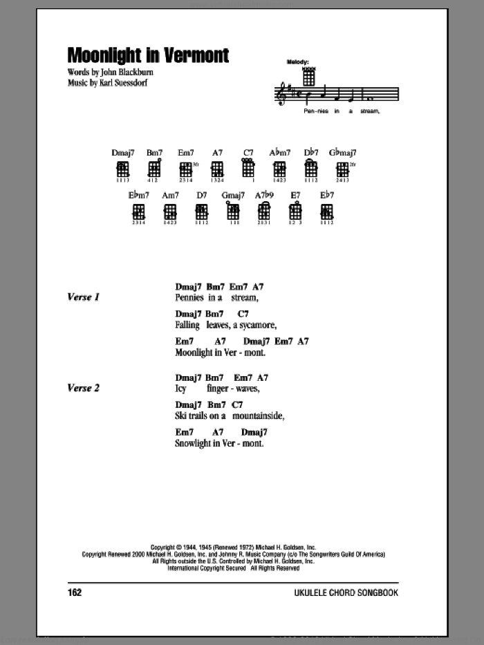 Suessdorf Moonlight In Vermont Sheet Music For Ukulele Chords