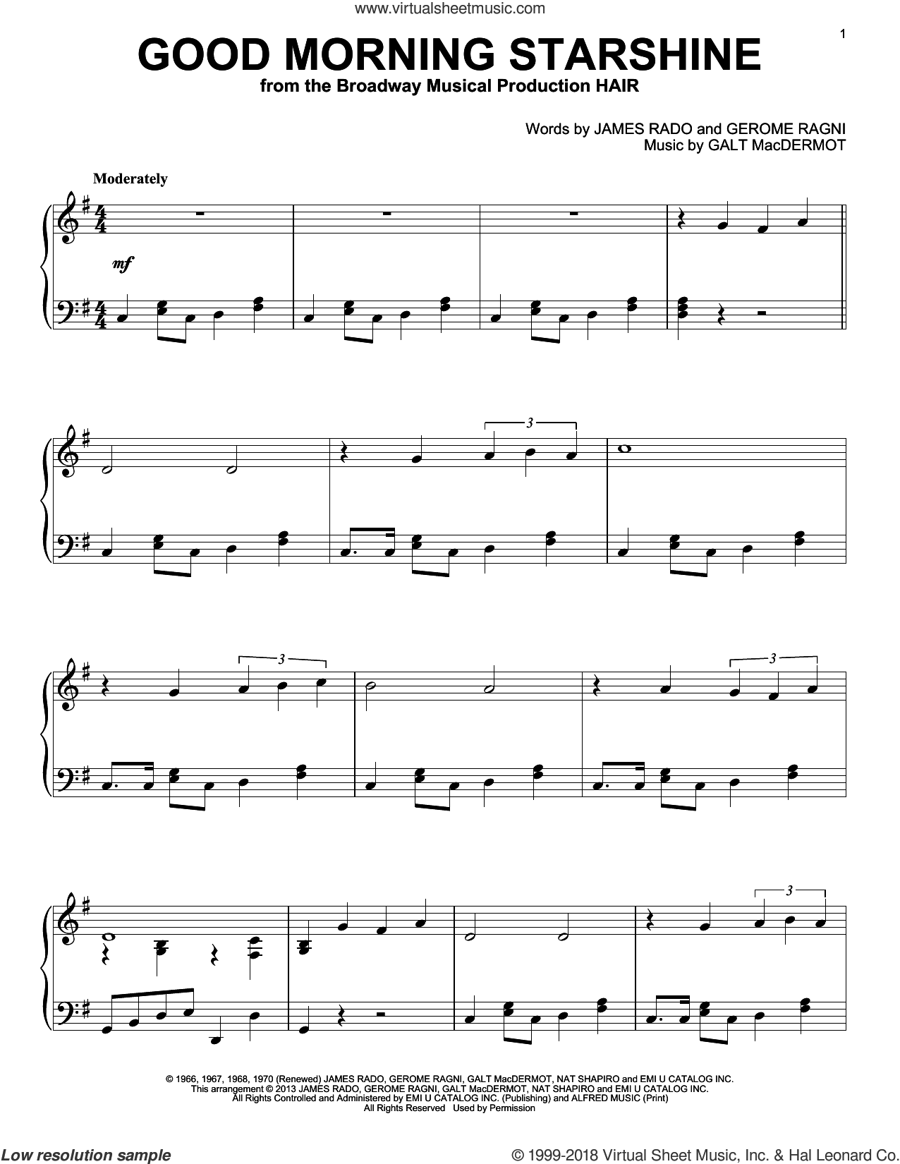 Good Morning Starshine sheet music for piano solo by Gerome Ragni and James Rado. Score Image Preview.