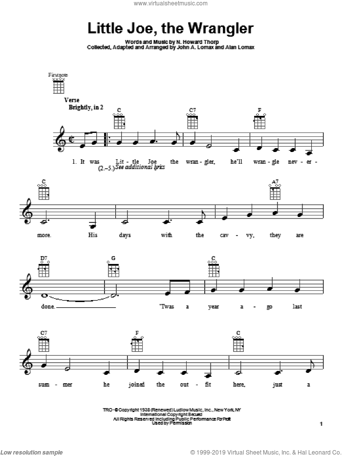 Little Joe, The Wrangler sheet music for ukulele by N. Howard Thorp and John A. Lomax. Score Image Preview.
